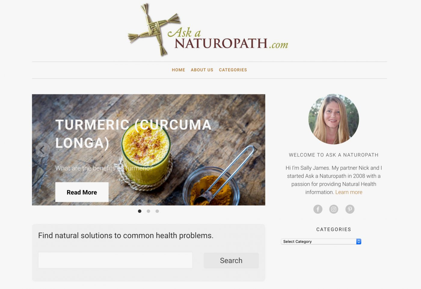 web design for Ask a Naturopath desktop view