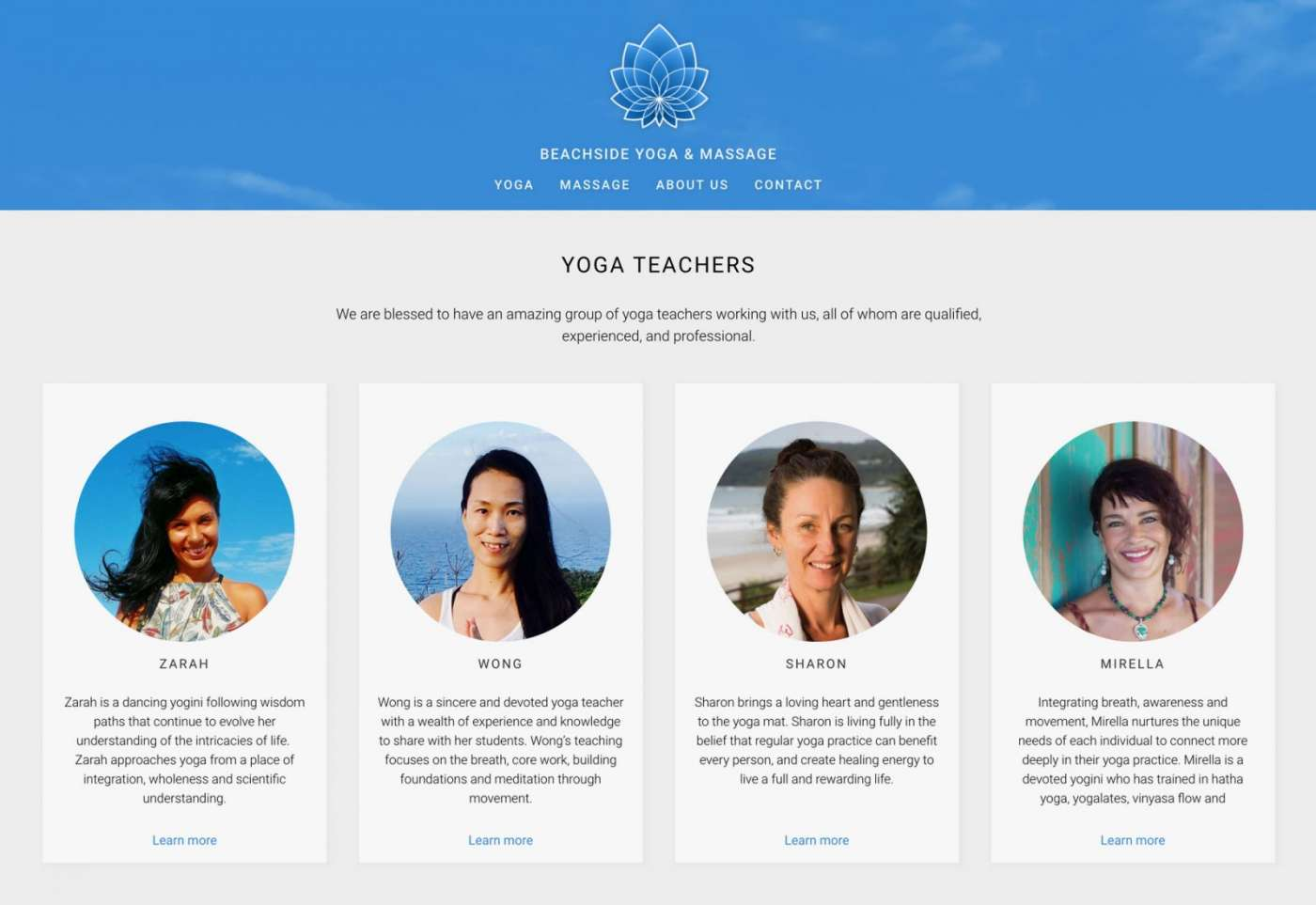 Web design for Beachside Yoga & Massage yoga teachers page desktop view.