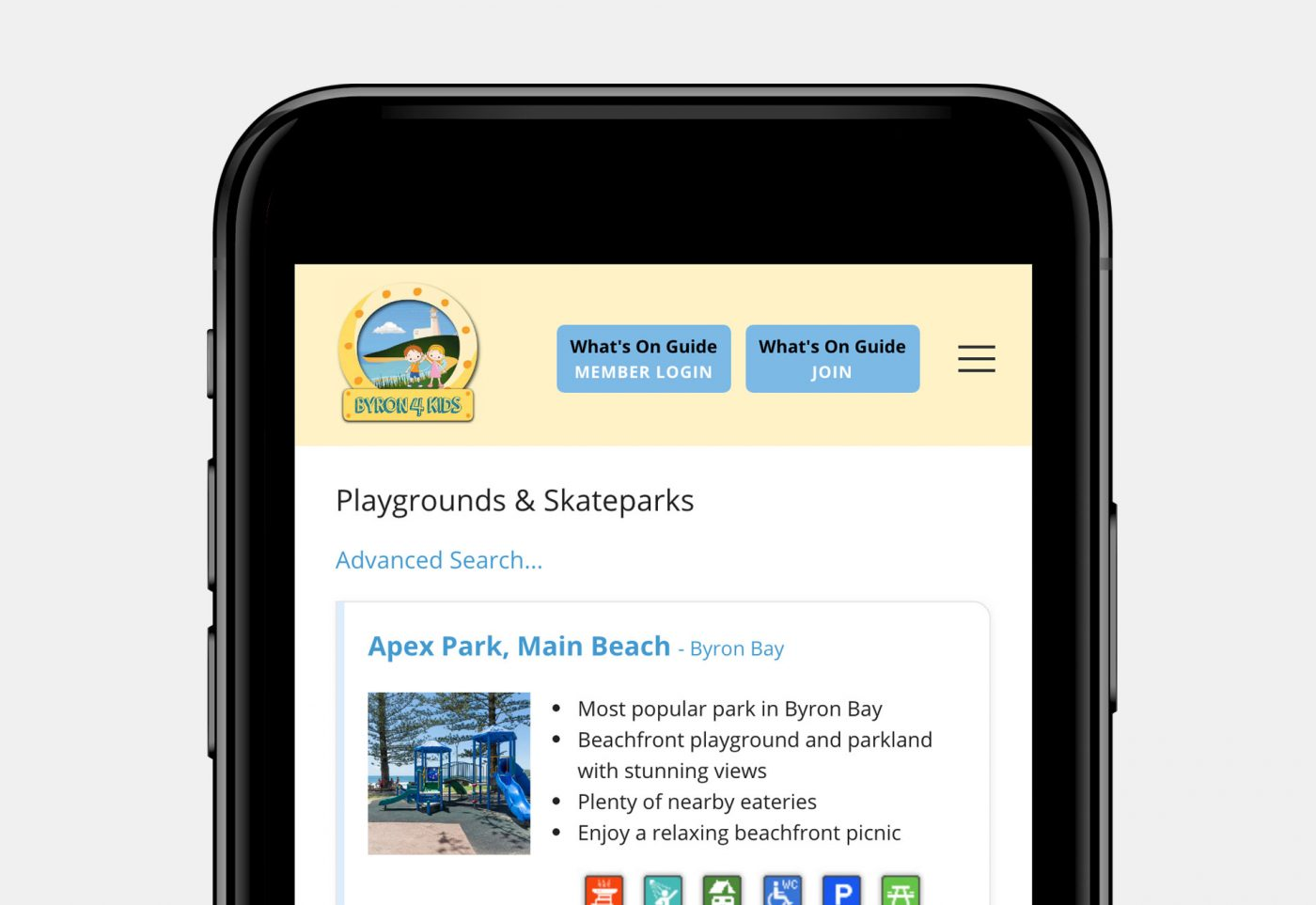 web design for byron4kids mobile view