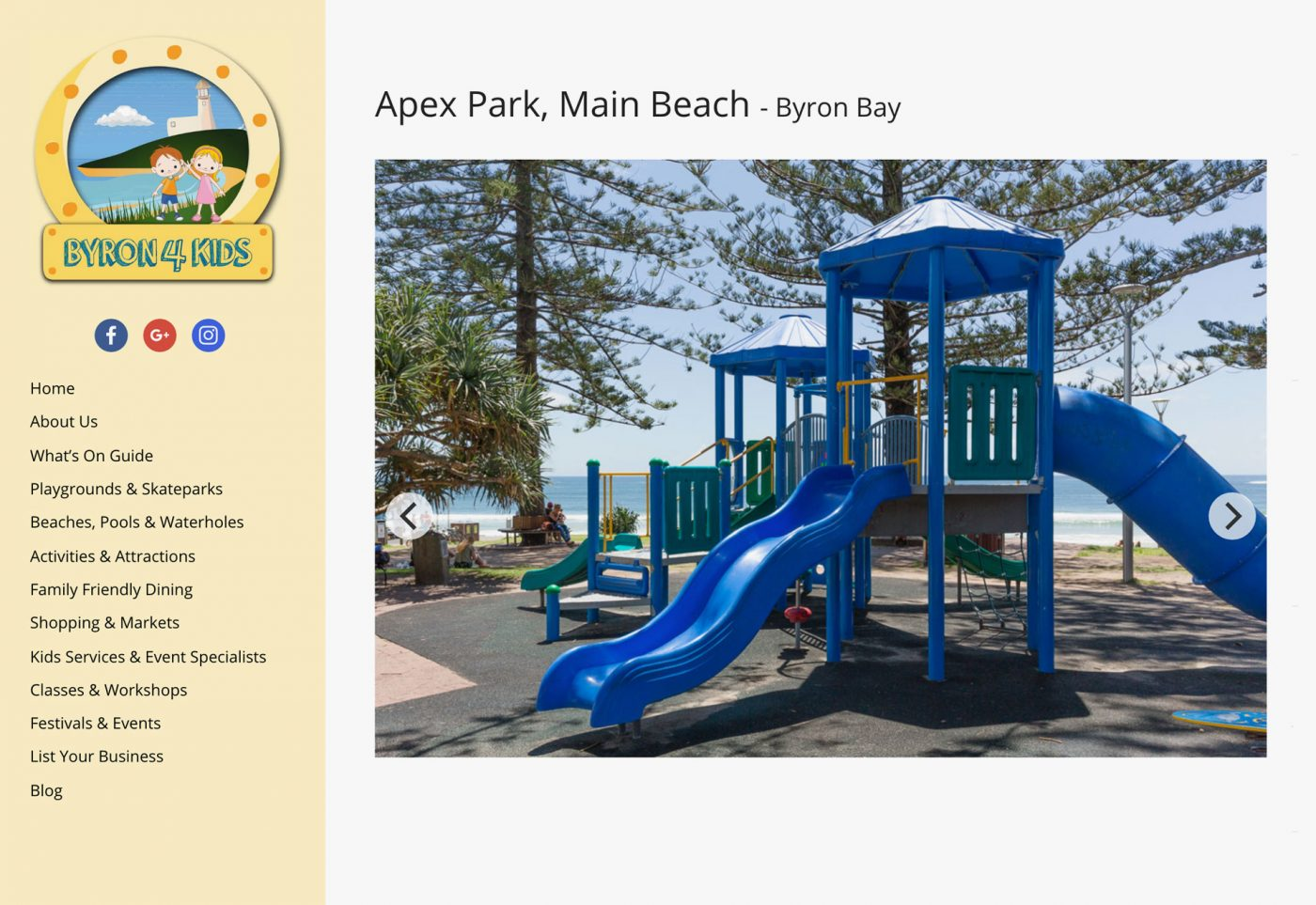 web design for byron4kids desktop view playground page