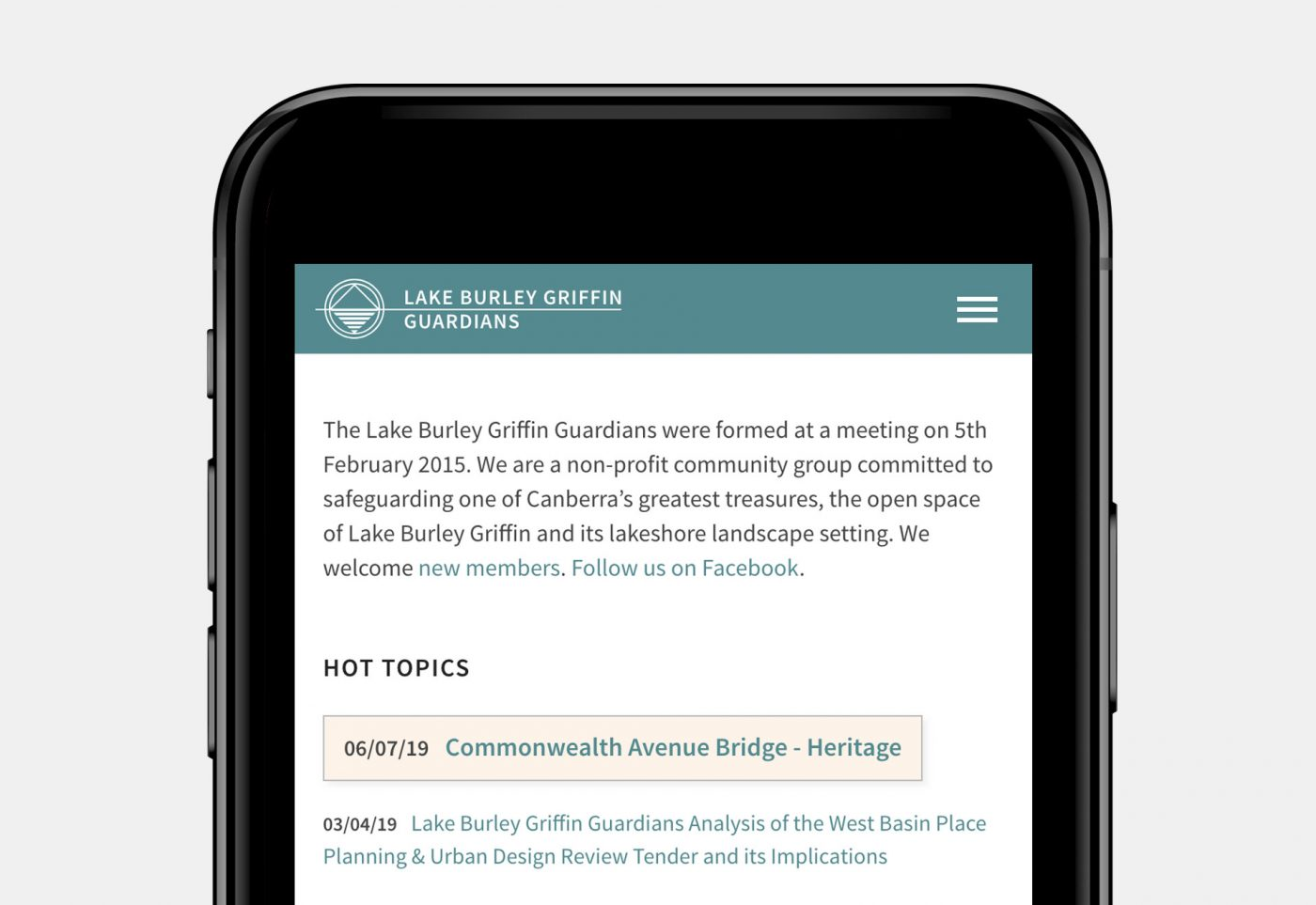 web design for Lake Burley Griffin Guardians mobile view article page