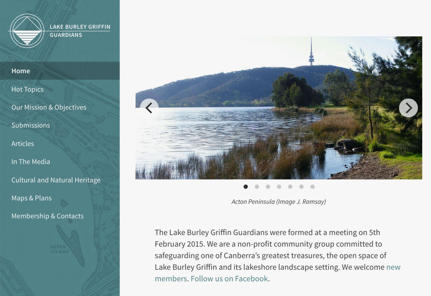 web design for Lake Burley Griffin Guardians desktop view