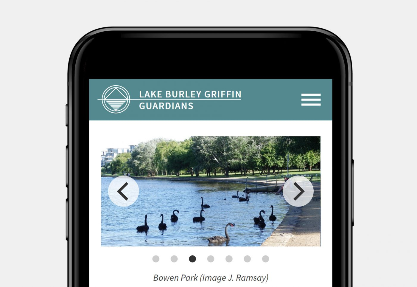 web design for Lake Burley Griffin Guardians mobile view home page