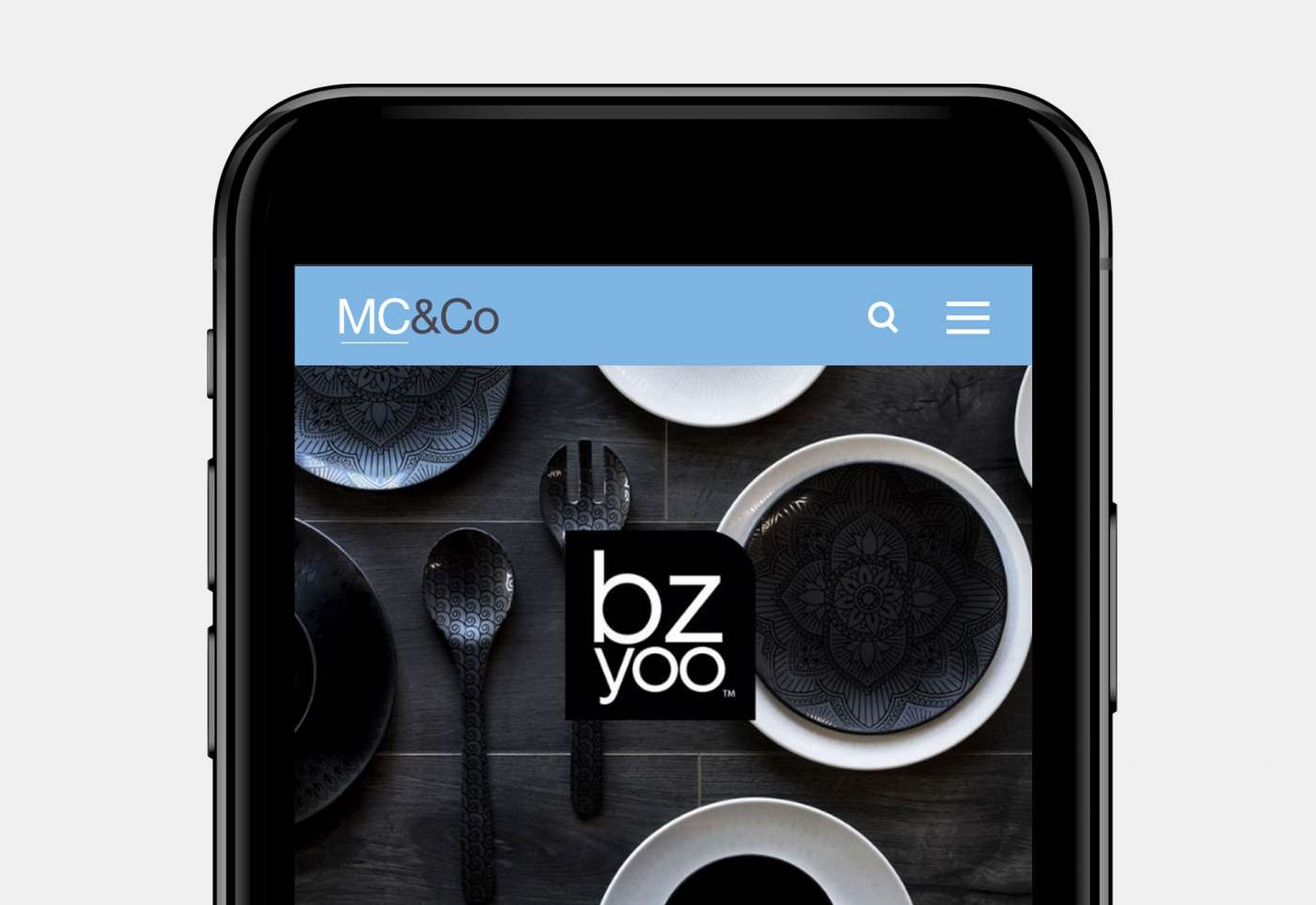 Web design for MC&Co portfolio mobile view.