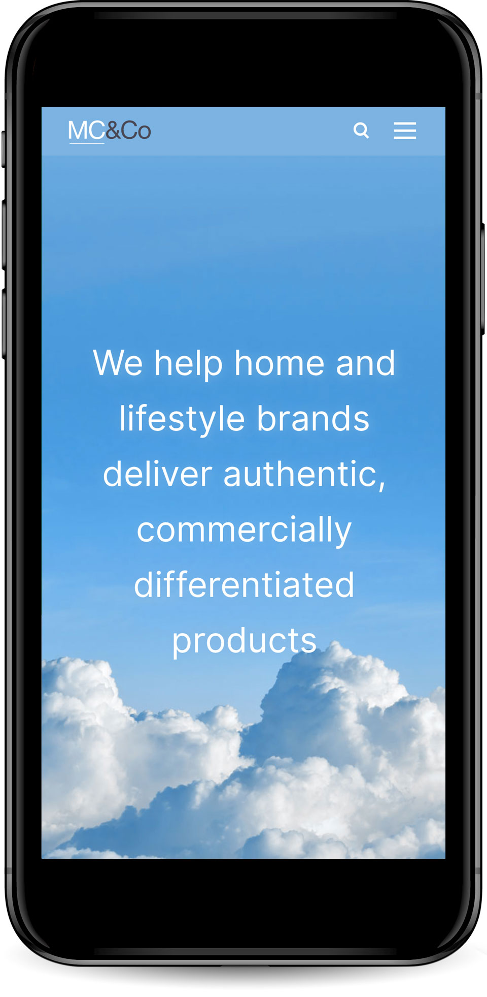 Web design for MC&Co home page mobile view.