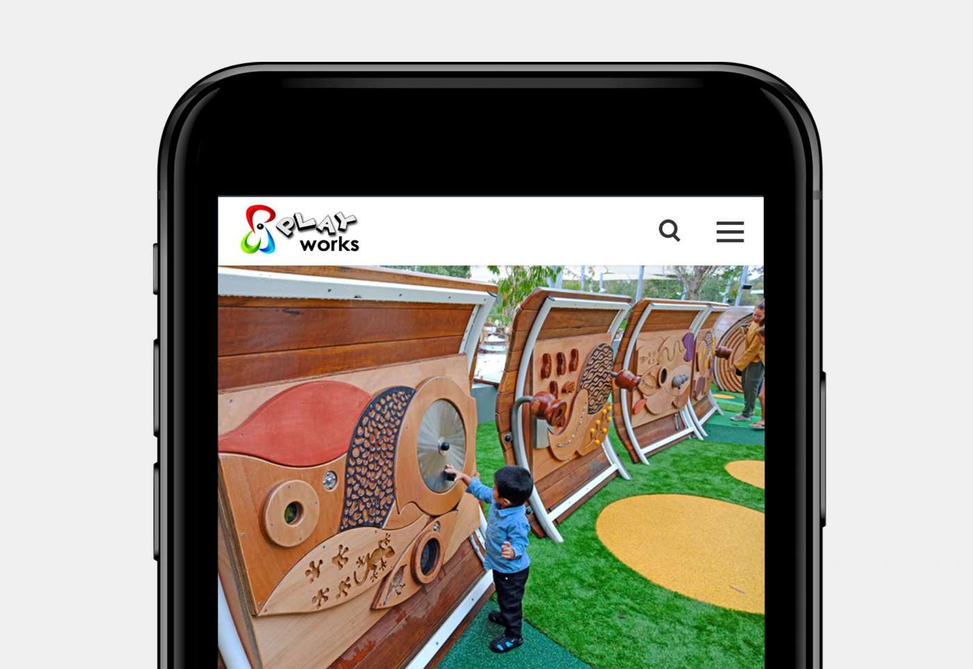 Web design for Playworks home page mobile view.