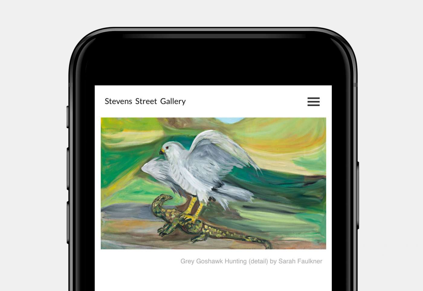 Web design for Stevens Street Gallery home page mobile view.