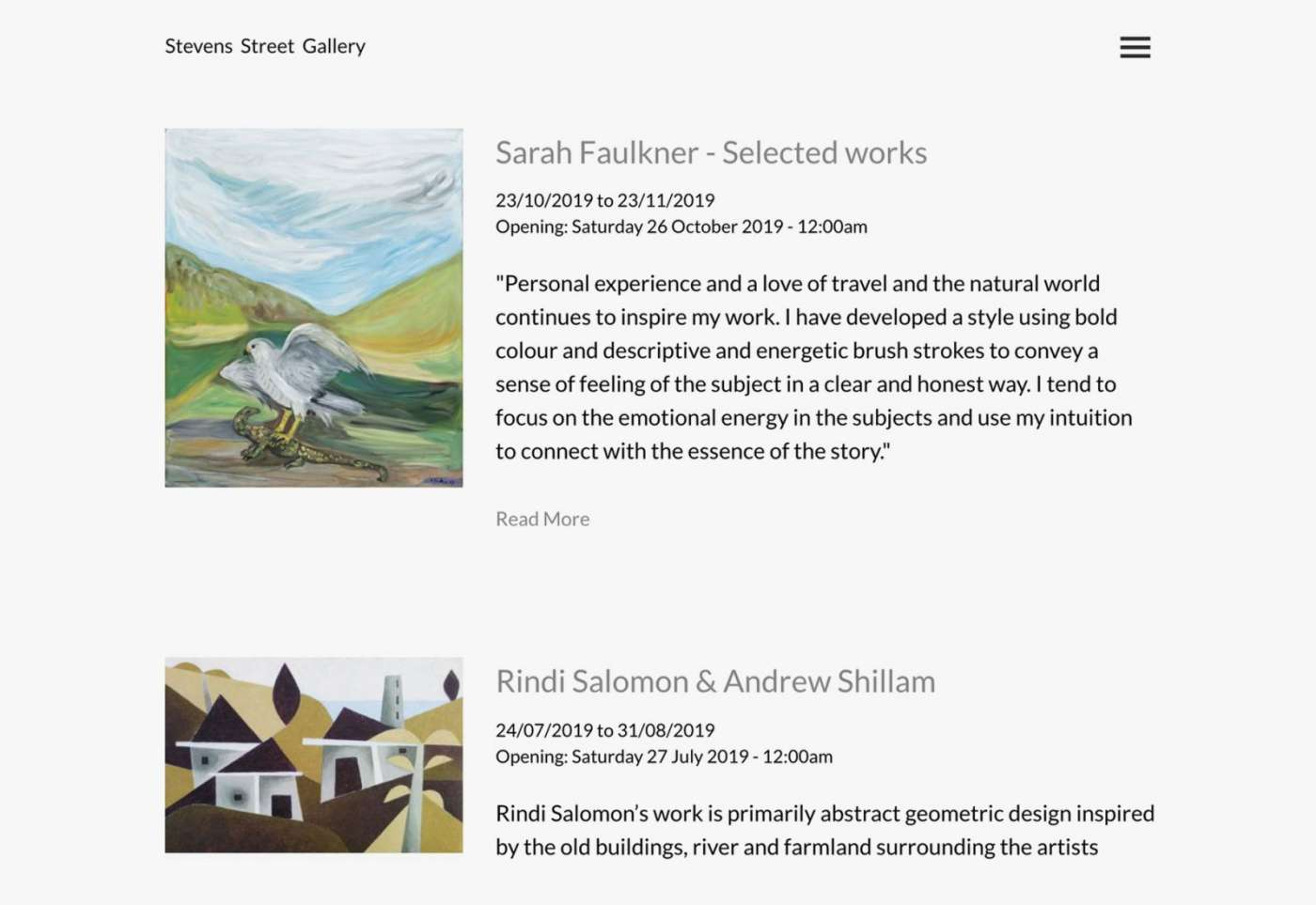 Web design for Stevens Street Gallery exhibitions page desktop view.