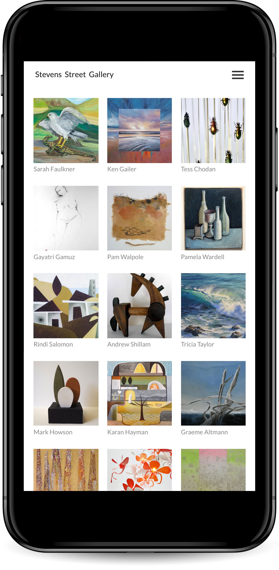 Web design for Stevens Street Gallery artists page mobile view.
